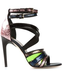 MSGM Glitter Strappy Sandals multicolor - Lyst