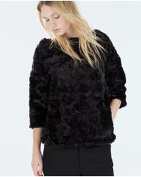 Zara Black Furry Sweater - Lyst