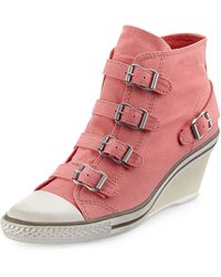 Ash Genialbis Buckled Wedge Sneaker - Lyst