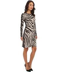 Karen Kane Faux Leather Panel Zebra Dress - Lyst