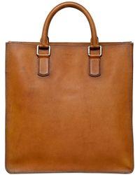 Giorgio Armani Brushed Saffiano Leather Tote Bag - Lyst