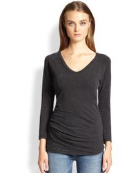 James Perse Draped-fold Jersey Tee - Lyst