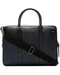 Burberry London Navy Pebbled Leather Briefcase - Lyst