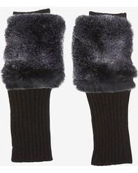 Carolina Amato - Fingerless Knitrex Rabbit Fur Gloves - Lyst