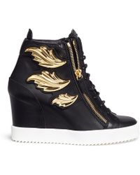 Giuseppe Zanotti | 'lamay Lorenz' Leaf Appliqué Concealed Wedge Leather Sneakers | Lyst
