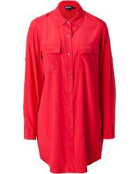 DKNY Oversized Stretch Silk Blouse - Lyst