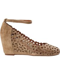 Jeffrey Campbell Delaisy Wedge Pump Taupe Suede - Lyst