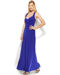 Calvin Klein Sleeveless Banded Bodice Gown - Lyst