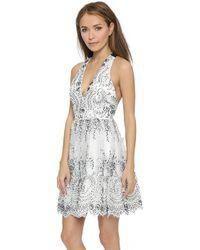 Alice + Olivia Steffy Low V Party Dress - Cream/Black - Lyst