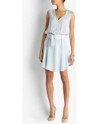 A.L.C. Exclusive Sheer Chiffon Belted Flare Dress blue - Lyst