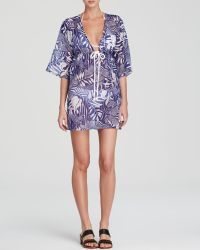 Milly Zebra Print Ava Drawstring Tunic Swim Cover Up - Lyst
