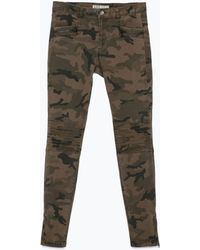 Zara Camouflage Trousers With Zips - Lyst
