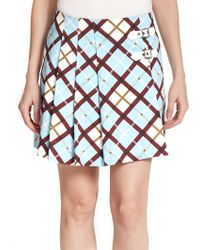 Marc By Marc Jacobs Pleated Plaid Skirt multicolor - Lyst