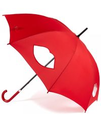 Lulu Guinness Red Cut Out Lips Kensington Umbrella - Lyst