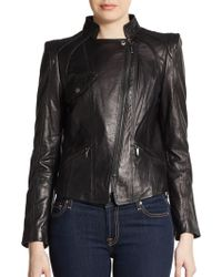 Laundry By Shelli Segal Leather Mockneck Leather Jacket - Lyst