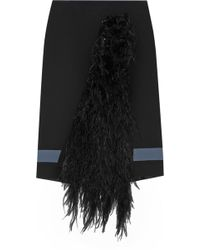 Emanuel Ungaro Feather-Paneled Crepe Skirt - Lyst