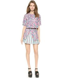 Suno Godet Crop Top - All Over Tulip - Lyst