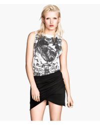 H&M Black Wraparound Skirt - Lyst