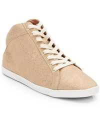 Joie Felton Goldtone Leather Sneakers - Lyst