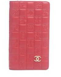 Chanel Pre-owned Red Lambskin Charms Bifold Wallet - Lyst