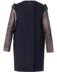 MSGM Fur-sleeved Wool Coat - Lyst