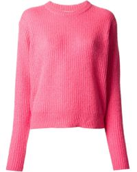 T By Alexander Wang Ribbed Crew Neck Sweater - Lyst