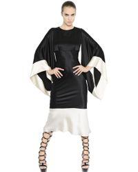Alexander McQueen Fluid Silk Satin Dress W/ Kimono Sleeves - Lyst