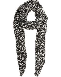 Barneys New York Leopard-Print Twill Scarf - Lyst