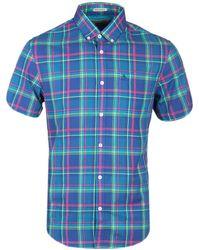 Original Penguin - True Blue Colourful Plaid Short Sleeve Shirt - Lyst
