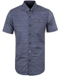Weekend Offender - Simple Floral Navy Short Sleeve Shirt - Lyst