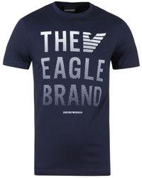 Emporio Armani - Navy The Eagle Brand Logo Tee - Lyst