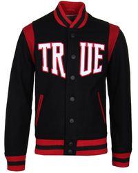 True Religion - Black & Ruby Red Woolen Varsity Jacket - Lyst