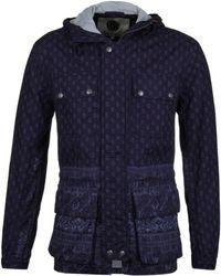 Pretty Green - Printed Tarbet Chambray Indigo Blue Hooded Jacket - Lyst