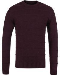 Edwin - Cordovan Maroon Marl Standard Fine Stripes Knitted Sweater - Lyst