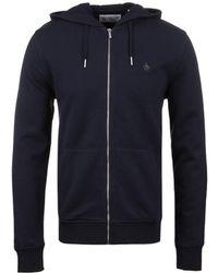 Original Penguin - Dark Sapphire Zip Through Hooded Pique Sweatshirt - Lyst