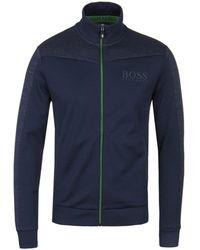 BOSS Athleisure - Skaz Navy Long Sleeve Zip Up Sweatshirt - Lyst