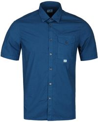 C P Company - Blue Garment Dyed Short Sleeve Shirt - Lyst