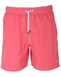 8b5cb744d3 Hackett - Coral Red Solid Volley Swimshorts - Lyst