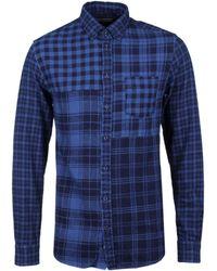Tommy Hilfiger - Indigo Check Patchwork Regular Fit Shirt - Lyst