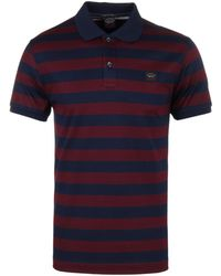 Paul & Shark - Burgundy / Navy Striped Organic Cotton Shark Fit Short Sleeve Polo Shirt - Lyst