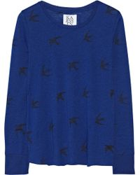 Zoe Karssen Bird Print Cotton and Modal Blend Top - Lyst