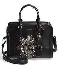 Alexander McQueen 'Mini Padlock' Studded Calfskin Leather Duffel Bag - Lyst