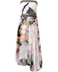Preen Floral Print Asymmetric Strapless Dress - Lyst