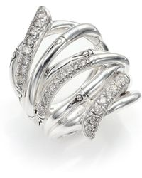 John Hardy Bamboo Diamond & Sterling Silver Wide Multi-Row Ring silver - Lyst
