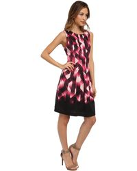 Vince Camuto Sleeveless Printed Fit  Flare Dress W Released Pleats - Lyst