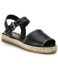 Prada Leather Espadrille Sandals black - Lyst