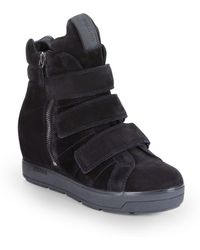 Prada Suede High-top Wedge Sneakers - Lyst