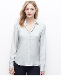 Ann Taylor Dashed Crepe Button Down Shirt - Lyst