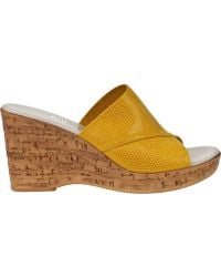 Onex For Jildor Christina-2 Wedge Sandal Yellow Leather - Lyst