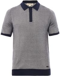 Burberry Basketweaveeffect Knitted Polo Shirt - Lyst